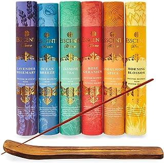 Essence incense gift pack 180 sticks with incense holder 6 flavors, Ocean,Morning Blosom,Jasmine tea,Rose Geranium,Sandalw...