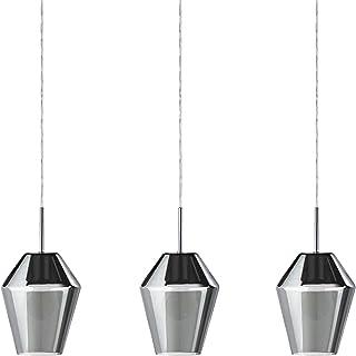 EGLO Lámpara colgante Murmillo, 3 focos, lámpara colgante de acero en cromo y cristal en negro transparente, lámpara de mesa de comedor, lámpara de salón colgante con casquillo E27