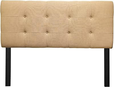 Sole Designs Ali Collection Padded Adjustable California King Sized Upholstered Bedroom Headboard with 8 Button Tufting, Loft Series, Sand Finish
