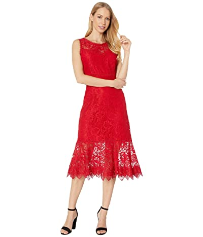 BB Dakota Hearing Sirens Floral Lace Midi Dress (Bright Red) Women