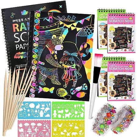 Scratch Art Paper Notebook, Manualidades para niños, scratch art para niños, juego manualidades, plantillas para dibujar niños, DIY Kit con Regla de Dibujo y Plumas de Madera