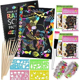 AYUQI Scratch Art Paper Notebook, dibujar niños, scratch art para niños, juego manualidades, plantillas para dibujar niños, DIY Kit con Regla de Dibujo y Plumas de Madera