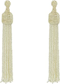 Kenneth Jay Lane - Silver Seed Bead Tassel Direct Post Earrings