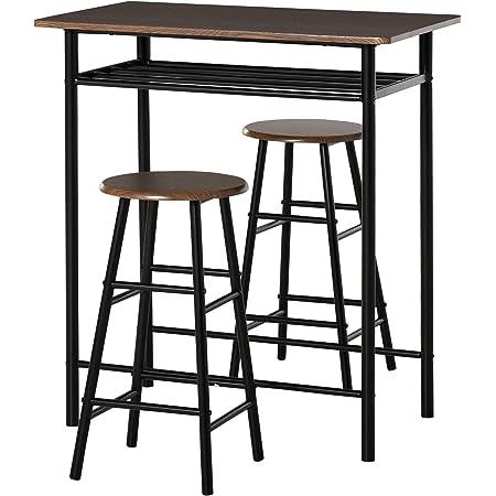 SoBuy Set 5 Pezzi Tavolo con 4 sgabelli Mobile Bar per casa Stile Industriale Grigio L100*P60*A96cm OGT15-HG