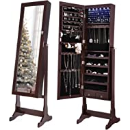SONGMICS 6 LEDs Mirror Jewelry Cabinet Lockable Standing Mirrored Jewelry Armoire Organizer 2...