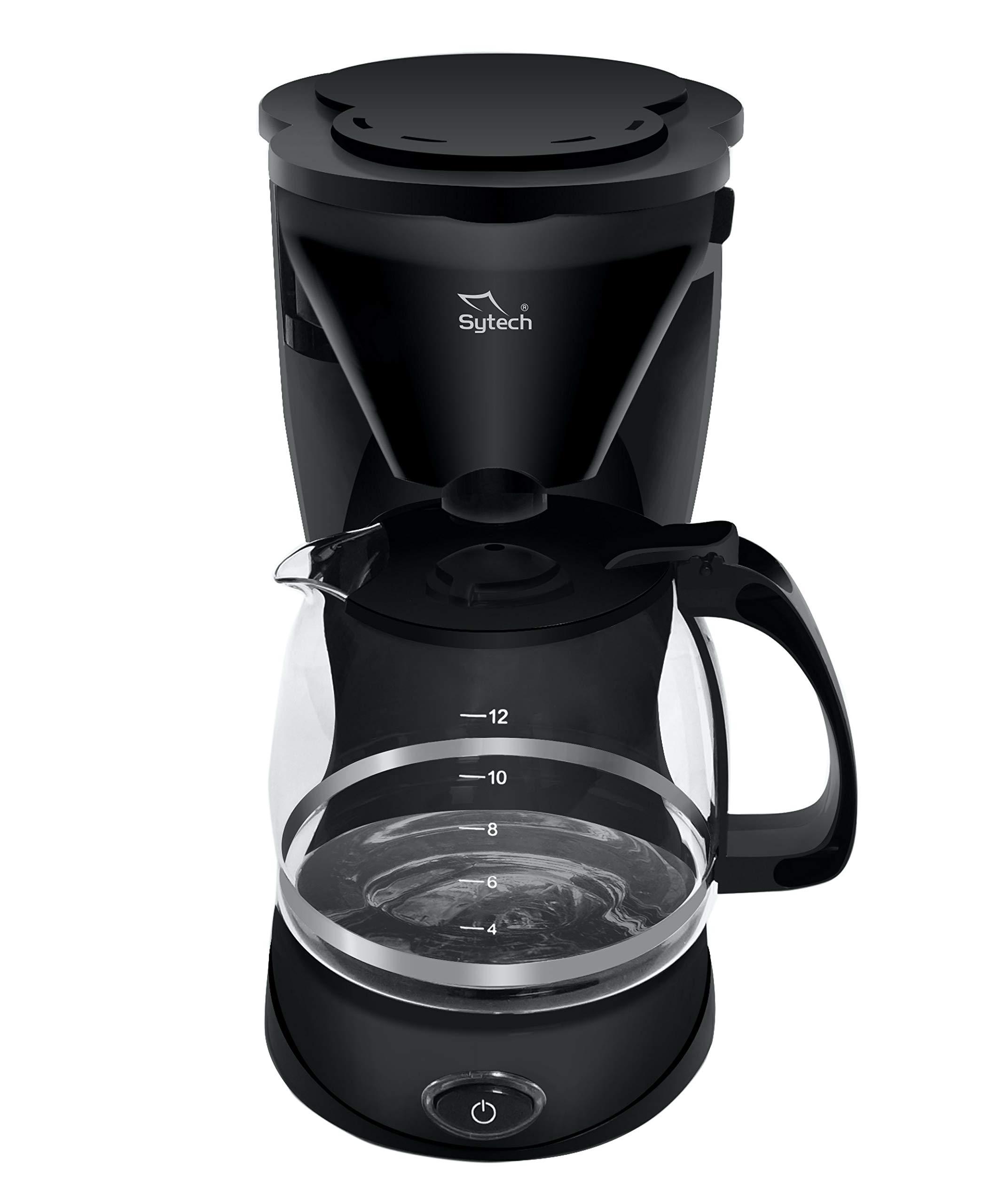 Sytech Cafetera eléctrica de Goteo para 12 Tazas, Negro: Amazon.es ...