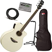 Yamaha APX600 Thinline VW Vintage White Acoustic-Electric Guitar w/Bag, Stand, C
