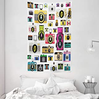 ABAKUHAUS Vintage Tapiz de Pared y Cubrecama Suave Cámaras Fotográficas Vintage Antiguas Pasatiempo Artístico Tema Estudio Diseño No se Desliza de la Cama 140 x 230 cm Multicolor