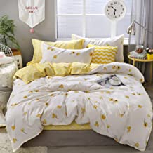 Yellow Floral Duvet Cover Set Flowers Bedding Lucky Clovers and Yellow Plaid Reversible Design Luxury Comforter Cover King...