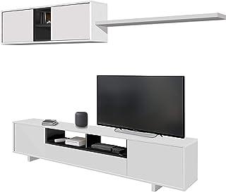 comprar comparacion Habitdesign 0Z6682BO - Mueble de salón Moderno, modulos Comedor Belus, Medidas: 200 cm (Largo) x 41 cm (Fondo) (Blanco Bri...