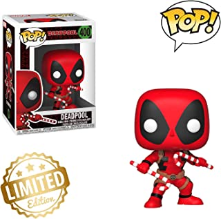 Limited Edition - Pop Marvel: Holiday - Deadpool with Candy Canes Collectible Figure, Multicolor