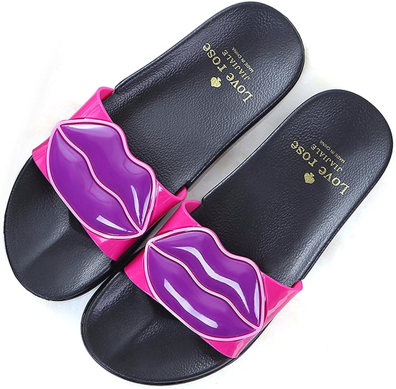 ALOTUS Women Anti-Slip Cute Lip Flat Slide Sandals Slipper for Summer
