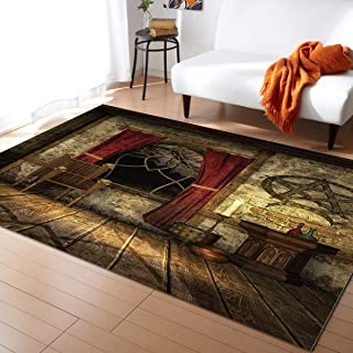 MuswannaA Indoor Area Rug Rectangle Cozy Floor Mat Retro House Magic Wooden Board with Witch Candle Comfy Area Carpet with Rubber Backing for Office Bedroom Home Decor, 5'x8'