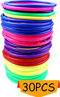 Heatoe 30 Pcs Colored Plastic Toss Rings, Plastic Ring Toss Game for Boys and Girls, Ring Toss Game for Home, Backyard and Outdoor, Speed and Agility Training Game