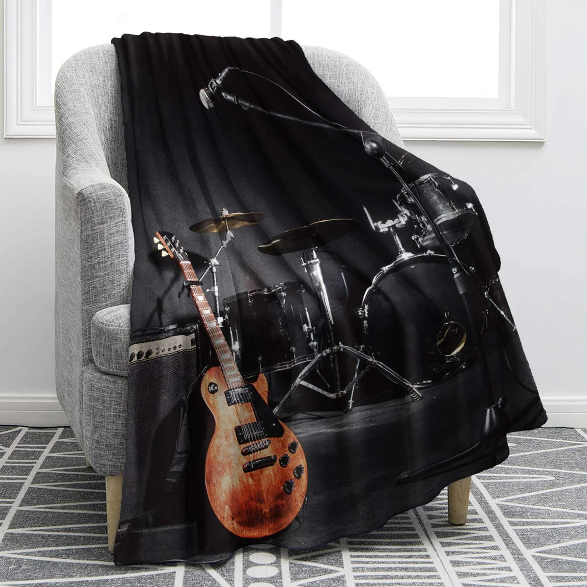Jekeno Musical Instruments Guitar Blanket Soft Warm Print Throw Black Blanket for Music Enthusiast Adults Gift Sofa Chair Bed 50