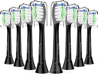 Toptheway Replacement Brush Heads - Compatible with Philips Sonicare DiamondClean Electric Toothbrush HX6063/64, Fit Plaque Control, Gum Health, FlexCare, HealthyWhite, Black, 8 Pack