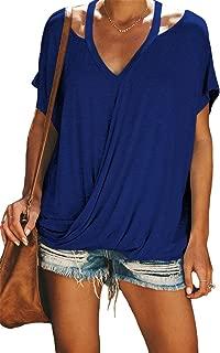 SZIVYSHI Short Sleeve Deep V Neck Cross Wrap Front Cut Out Cold Open Shoulder Draped Drape T-Shirt Tee Blouse Shirt Top