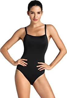 SYROKAN Women's Sleek Solid Elite Training Sport Athletic One Piece Swimsuit