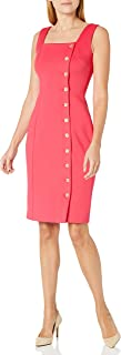 Calvin Klein Women's Square Neck Sheath Dress with Side Front Button Detail