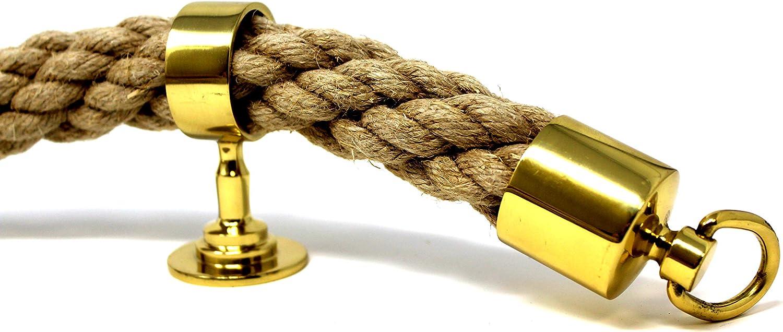 SEILFLECHTER dos tapas y cinco soportes intermedios Juego de cuerda para pasamanos compuesto por 5 m de cuerda de c/á/ñamo con cable de 34 mm de di/ámetro Lat/ón pulido.