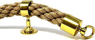 SEILFLECHTER - Handlauf Seil Set   bestehend aus 5 m Hanfseil in Kabelschlag Durchmesser 34 mm, zwei Endkappen und fünf Zwischenträgern   Messing poliert