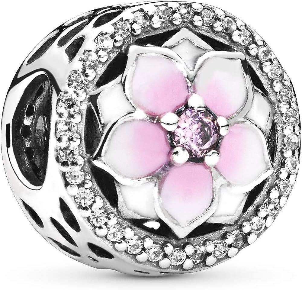 Pandora ciondolo bead charm magnolia rosa per donna in argento sterling 925 792085PCZ