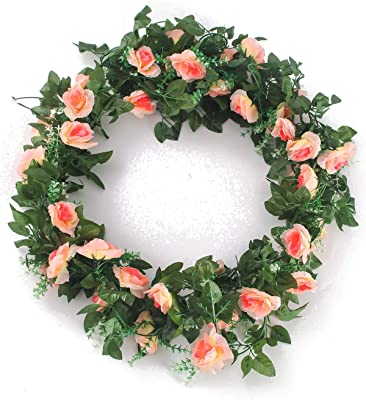 26e43cab95a Charmly 2 Pack 14.4 FT Artificial Rose Vine Fake Rhododendron Silk Flowers  Garlands Hanging Ivy Plants