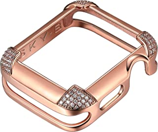 SKYB 14K/18K Gold or Rhodium Plated & CZ Pavé Corners Jewelry-Style Apple Watch Case (Series 1-2-3-4-5) with Cubic Zirconia - Color & Size Options