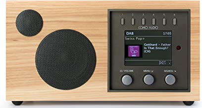 Como Audio: Solo - Wireless Music System with Internet Radio, Spotify Connect, Wi-Fi, FM, and Bluetooth - Hickory/Black