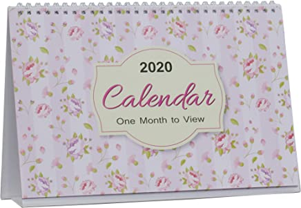 2019-2020 One Month to View UK Stand Alone Desk Office Table Calendar, School Year Planner, Floral Leaf Design by Arpan