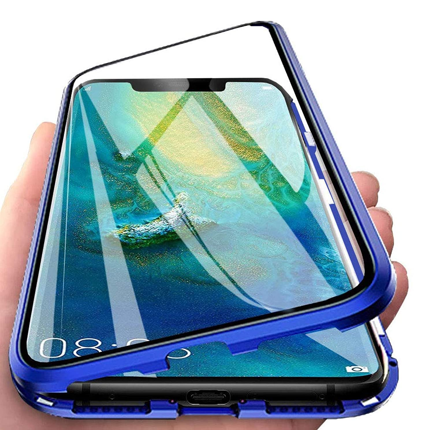 Wishcover Case for VIVO V15/S1 Cover Magnetic Adsorption Tech Powerful Magnets Built-in Metal Frame 360 Degree Protection Shockproof Metal Flip Cover Packed Screen Protector