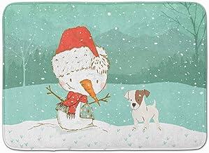 Caroline's Treasures Jack Russell Terrier Snowman Christmas Machine Washable Memory Foam Mat, Multicolor