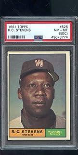 1961 Topps #526 R.C. Stevens R C RC HIGH NUMBER PSA 8 (OC) Graded Baseball Card