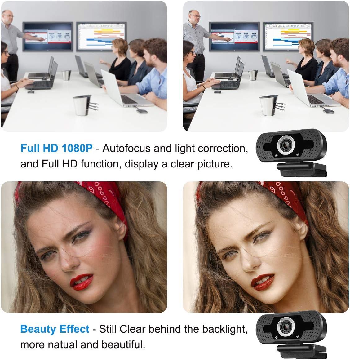 Webcam HD 1080P USB Webcam avec microphone le travail en ligne et les appels vid/éo les vid/éoconf/érences USB /à 90 degr/és webcam de bureau et portable Webcam en direct pour les jeux support D