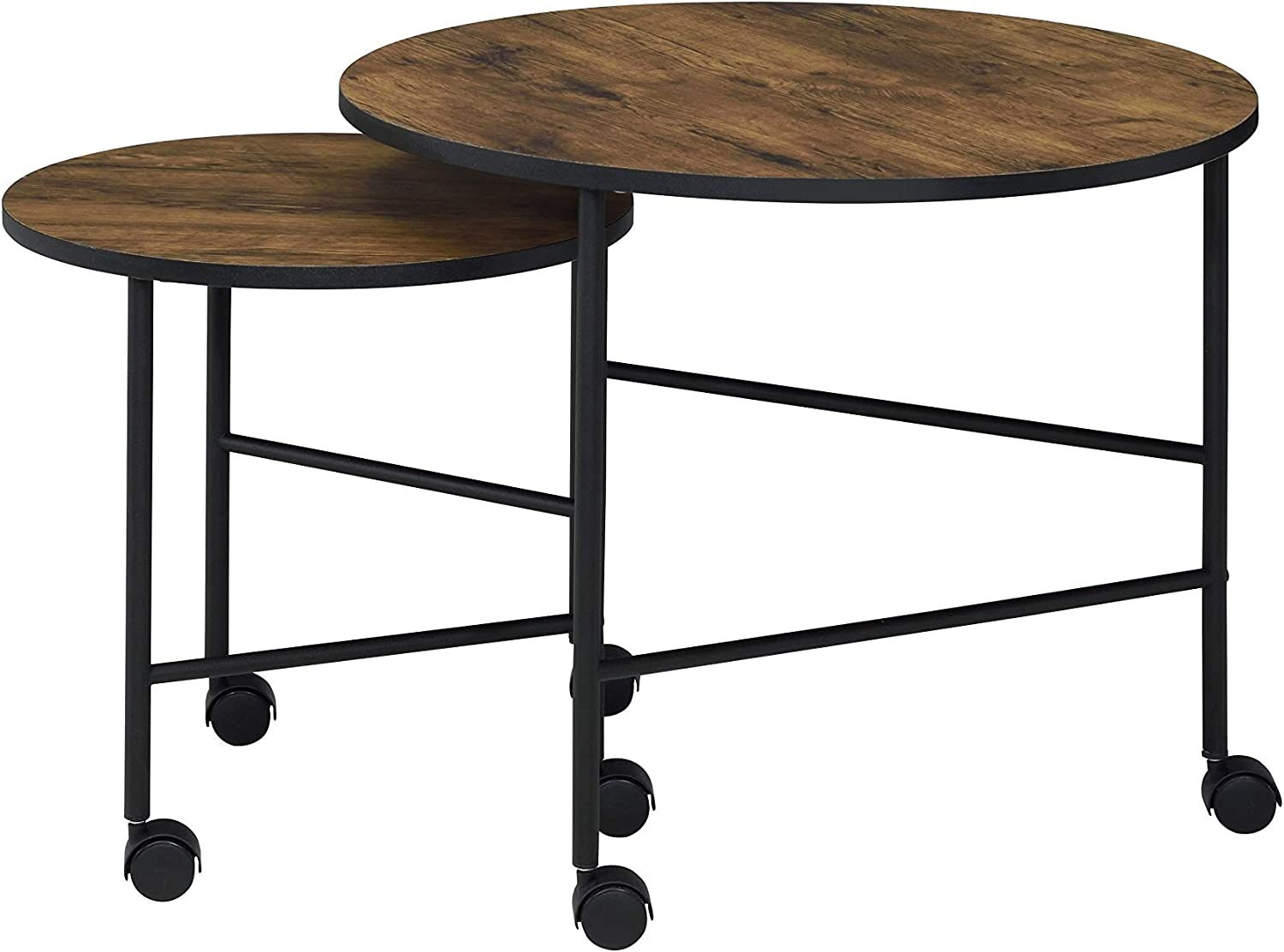 Vintage Oak and Black Knocbel Industrial Mobile Nesting Coffee Table for Living Room 2 Pieces Coffee Table Set with Wooden Top Metal Frame /& Wheels