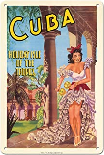 Pacifica Island Art Cuba - Holiday Isle of The Tropics - Cuban Dancer with Maracas - Vintage Travel Poster 1949-8in x 12in...
