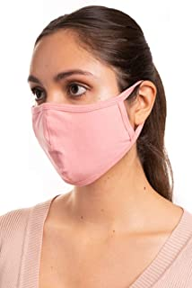 Aulin� Collection Made in USA Cotton Fabric Washable Reusable Filter Pocket Face Mask, Dusty Pink 1 PK