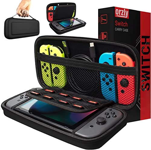 Orzly Carry Case Compatible With Nintendo Switch - BLACK Protective Hard Portable Travel Carry Case Shell Pouch for N...