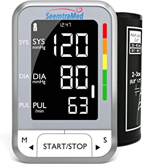 Blood Pressure Monitor Upper Arm - Best Accurate Portable Automatic Digital BP Machine with Large Cuff (22-42cm) for Home Use – Extra Large LCD Display with Heart Rate Detection