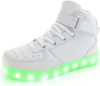 Kids Youth LED Light Up Sneakers Boys Girls High Tops Cool Flashing Shoes for Toddler Littler Kid Big Kid