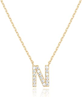 PAVOI 14K Yellow Gold Plated Cubic Zirconia Initial Necklace | Letter Necklaces for Women