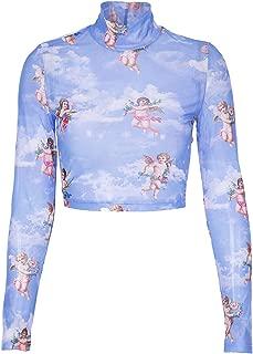 Elonglin Women's Sexy Mesh T-Shirt Long Sleeve Mock Neck Crop Tops Transparent Slim Angle Print Blouse
