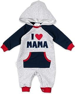 """Baby Sweets Baby-Overall mit Kapuze im """"I Love Mama"""" & """"I Love Papa""""-Design als Baby-Kleidung für Mädchen & Jungen/Overall Baby als Baby-Strampler für Neugeborene & Kleinkinder verschiedener Größen"""
