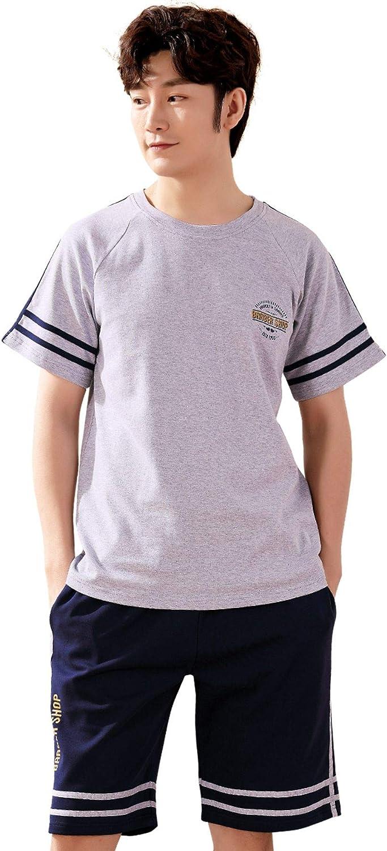 mitvr Pajamas for Men Short Sleeve Pajama Shorts Set Cotton Sleepwear Summer Loungewear