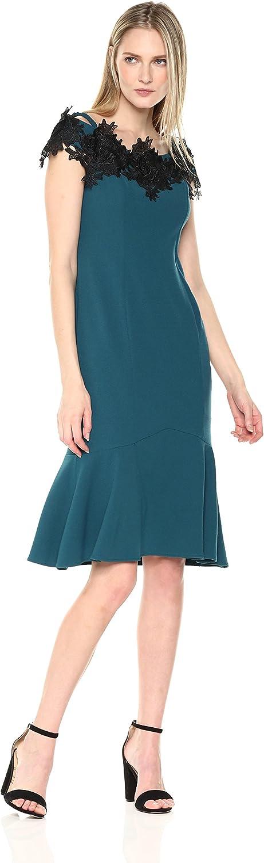 Marina Womens Off The Shoulder Applique Dress Cocktail Dress