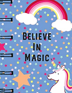 Believe In Magic: Unicorn Blank Sheet Music Notebook, Manuscript Paper, Musicians Notebook, Music Journal. This is a Faux ...