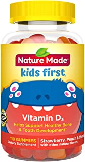 Nature Made Kids First Vitamin D3 Gummies, 110 Count for Healthy Bone Development † (Packaging May Vary)