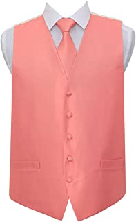 DQT Men Solid Check Plain Wedding Waistcoat and Neck Tie