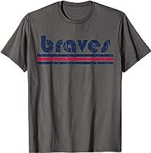 Vintage Braves Retro Three Stripe Weathered TShirt