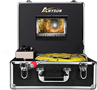 Pipe Pipeline Inspection Camera,Anysun 50m-165FT Cable Drain Sewer Industrial Endoscope Waterproof IP68 with 7 Inch Lcd Monitor Dvr Record-8GB SD Card